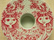 Vintage Nymolle Bjorn Wiinblad Red Romantic Ceramic Candlestick holder
