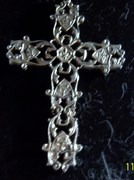 Large silver cross with chain by Py.