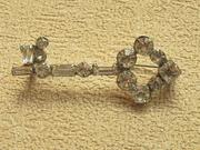 Vintage Jewelry Rhinestone Key to Your Heart Brooch