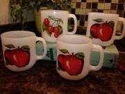 Glasbake Milk glass Mugs Apple and Cherry design