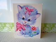 Vintage Oversized Blue Kitten Greeting Card