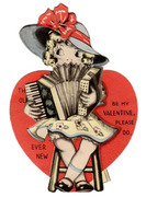 Old, Mechanical Valentine with Girl Playing Accordion