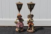 Mid-Century Porcelain Village Children Lamps with Brass Shades