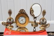 Mid-Century Vintage Brass Vanity Set with Tray, Mirror, Clock & Perfume Bottles.