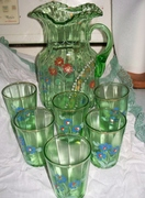 Early 1900's  Vaseline Glass Enamelled Pitcher and Tumbler Set