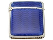 Antique Sterling Silver and Blue Guilloche Enamel Vesta Case