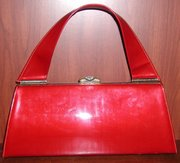 Lipstick Red Sculptural Handle Handbag