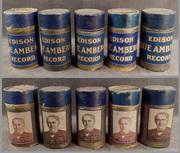 cylinder records- 5 blue amberol - orig boxes, gpB2