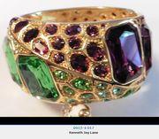 Kenneth Jay Lane Topaz & Emerald Cuff Bracelet
