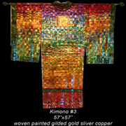 Painted woven metal artwork