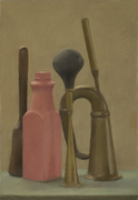 Still Life with Red Bottle and Horns