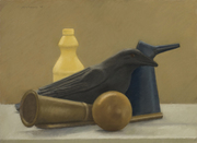 Still Life with Crow Yellow Bottle