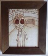 Original framed ink character illustration