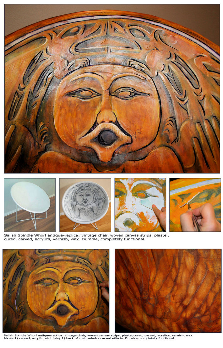 Salish Spindle Whorl Chair: process details