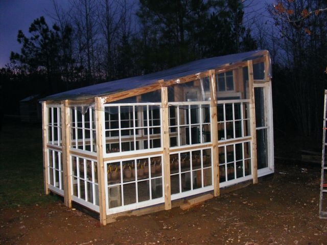Greenhouse from recycled windows-garden side