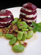 CSA Cookoff Beet stacks with minted goat chevre and fava bean bacon vinaigrette