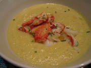 CSA Coookoff: Dinner party. Sweet corn bisque with lobster
