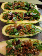 Stuffed squash with corn & radish salad