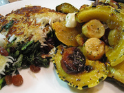 CSA Cookoff: Roasted fall vegetables with maple butter glaze over crispy Persian rice.