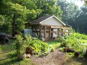 Chicken house with raised box gardens