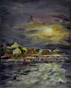 Moonlight Over Little Bay, 8x10 oil on panel