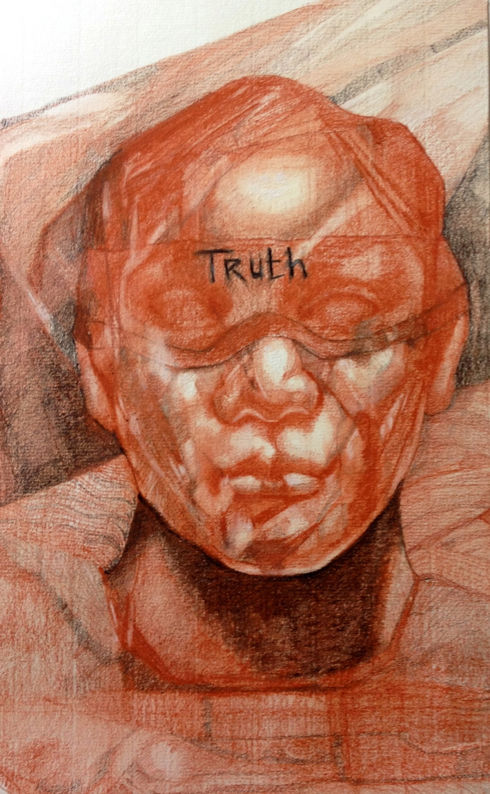 Red chalk drawing,title truth.