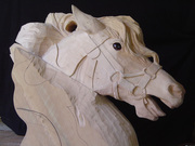 Carved carousel head by Tracy Kochanski
