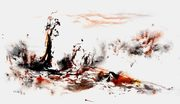 """Fall 6, 2013, ink and color on paper, 36"""" x 60"""" (91 x 152 cm)"""