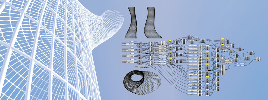 Rectangular grid shell of skyscraperes