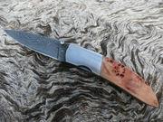 VG10 Damascus Folder With Honey Maple Burl TAU Custom Knives