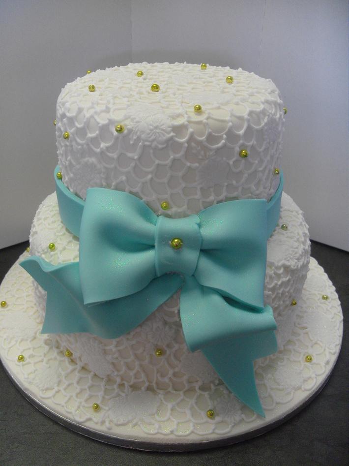 Turquoise and Gold wedding cake