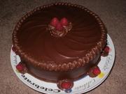 Dark Chocolate Fudge Cake with Raspberries