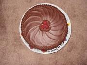Dark Chocolate Fudge Cake with Raspberries top view