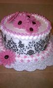 Sweet Damask Baby Shower Cake