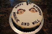 Twin Monkeys' First Birthday Cake