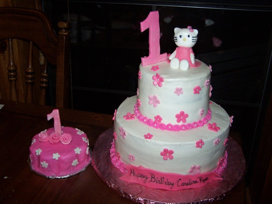 Fine Hello Kitty 1St Birthday With Smash Cake Cake Decorating Personalised Birthday Cards Veneteletsinfo