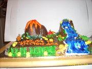 volcano-dinosaur cake side view