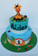 Birthday Express Giraffe Themed 1st Birthday Cake