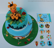 Birthday Express Giraffe Themed 1st Birthday Cake & Cupcake Toppers