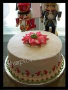 Poinsettia Cake with fancy border
