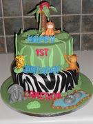 Jungle 1st Birthday Cake - 1130F