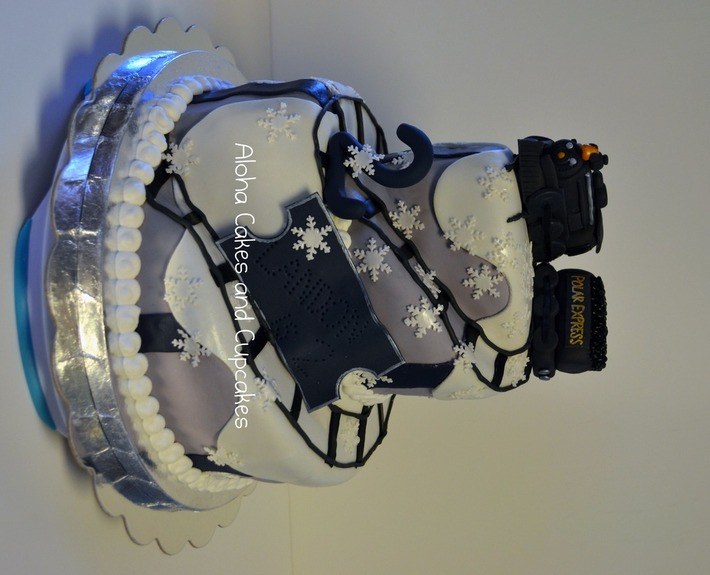 Marvelous Polar Express Train Winter Themed Birthday 612F Cake Funny Birthday Cards Online Elaedamsfinfo