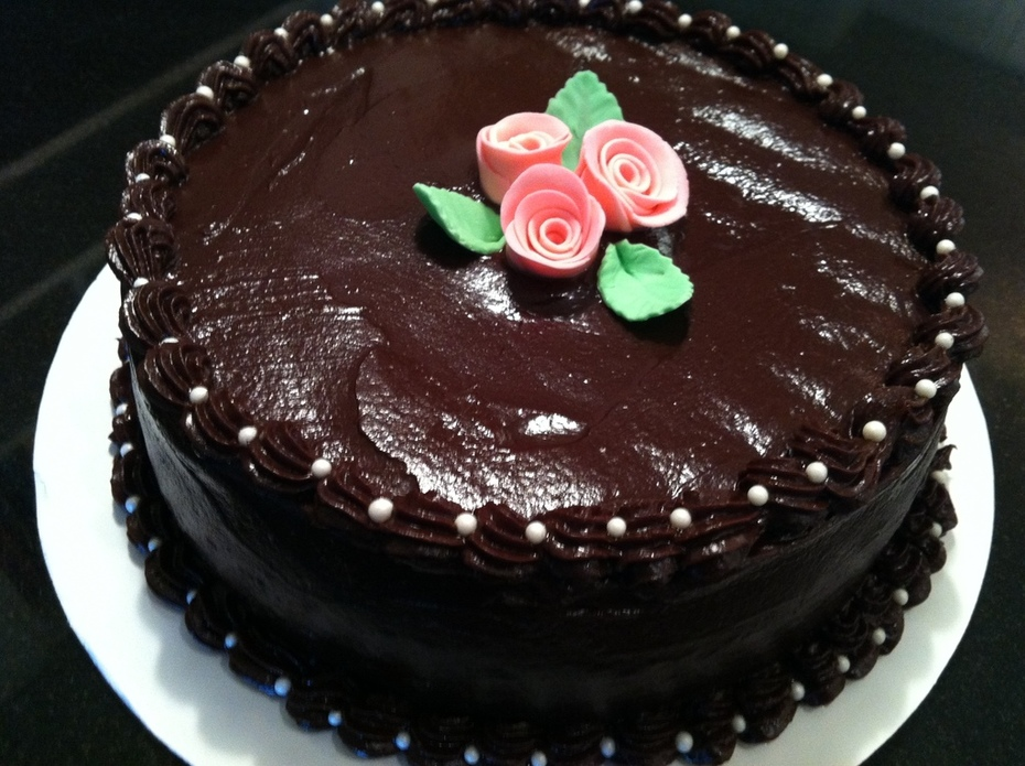 Chocolate chiffon cake with chocolate ganache