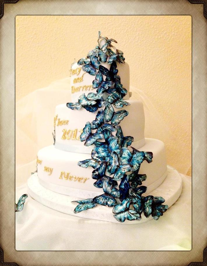 Fondant Fetish - Blue Butterfly wedding cake