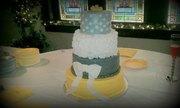 yellow amd gray wedding cake