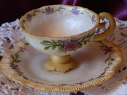 white, gold lavender tea cup