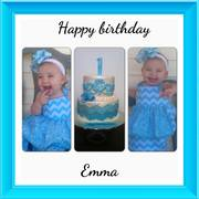 Blue chevron birthday cake