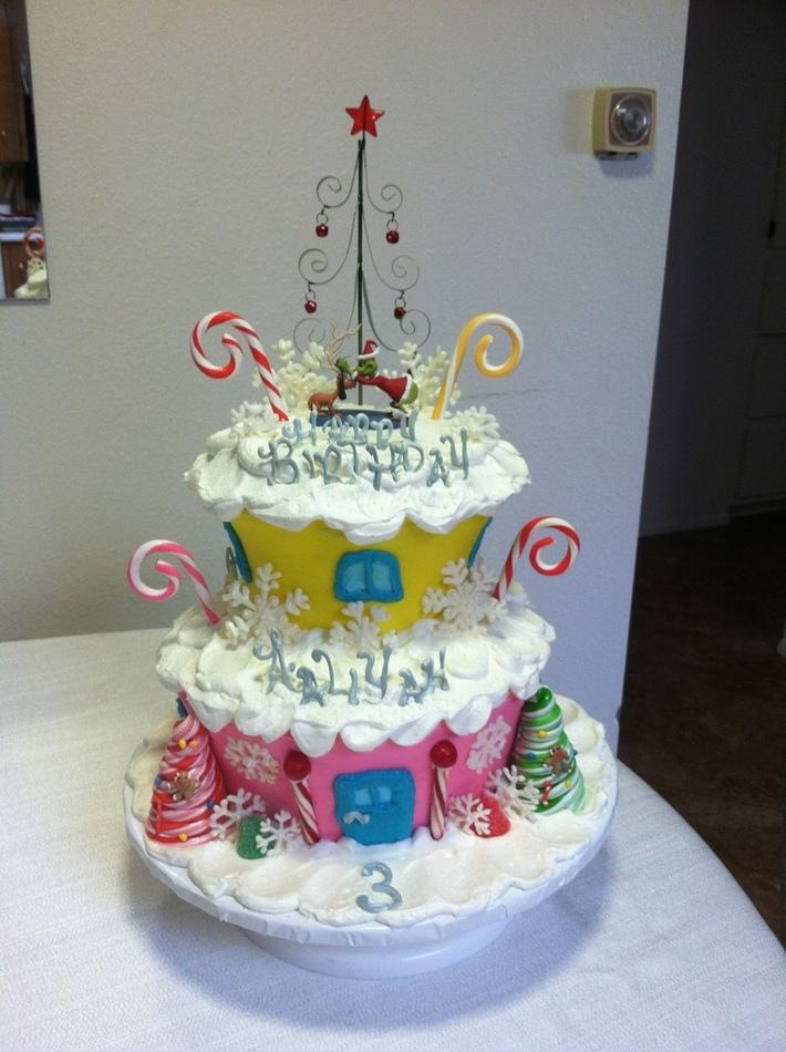 Birthday cake Grinch Christmas theme