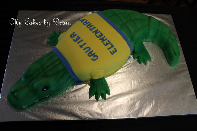 Stupendous Alligator Birthday Cake For The Principal Cake Decorating Funny Birthday Cards Online Alyptdamsfinfo