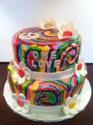 tie die hippie themed cake